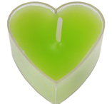Green heartshaped tealights 4 pcs