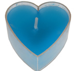Turquoise heartshaped tealights 4 pcs