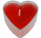Red heartshaped tealights 4 pcs
